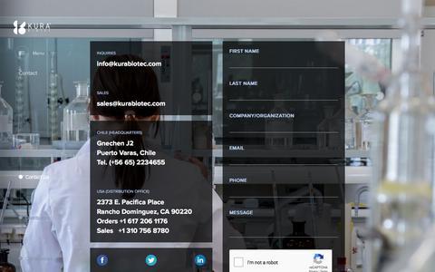 Screenshot of Contact Page kurabiotec.com - Contact | Kura Biotec - captured Sept. 20, 2018