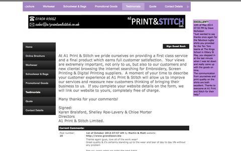 Screenshot of Testimonials Page a1printandstitch.co.uk - A1 Print & Stitch Customer Feedback Page - captured Oct. 4, 2014