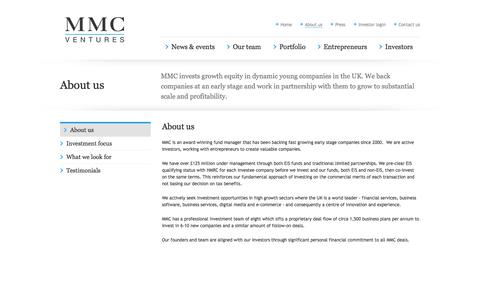 Screenshot of About Page mmcventures.com - MMC                About us - captured Sept. 23, 2014