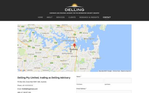 Screenshot of Contact Page dellingadvisory.com - CONTACT — Delling Advisory - captured June 4, 2017