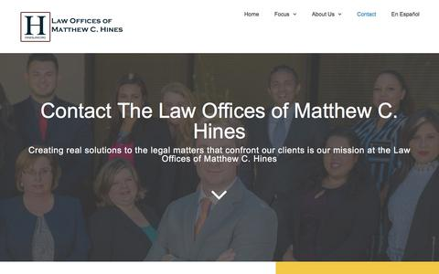 Screenshot of Contact Page hineslaw.org - Contact Our Law Firm | The Law Offices of Matthew C. Hines - captured July 21, 2017