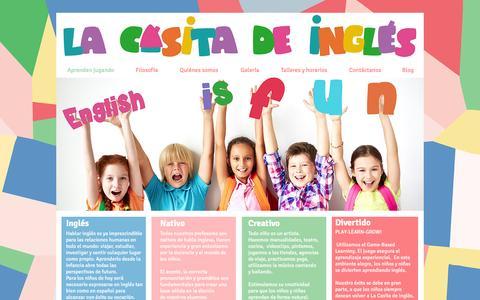 Screenshot of Home Page lacasitadeingles.com - La Casita de Inglés - Aprenden inglés jugando con profesores nativos - captured Jan. 23, 2016