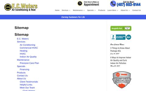 Screenshot of Site Map Page ecwaters.com - Sitemap | E.C. Waters, Orlando, FL - captured July 7, 2017