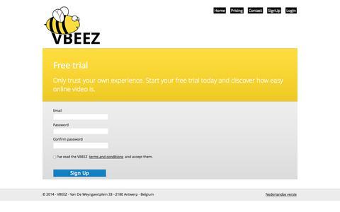 Screenshot of Signup Page vbeez.com - Sign Up - VBEEZ - online video for business - captured Oct. 27, 2014