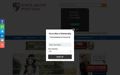 Screenshot of Home Page scholarship-positions.com - Scholarship Positions 2018 2019 for Undergraduate Masters PhD Courses Scholarship Positions 2018 2019 - captured Sept. 21, 2018