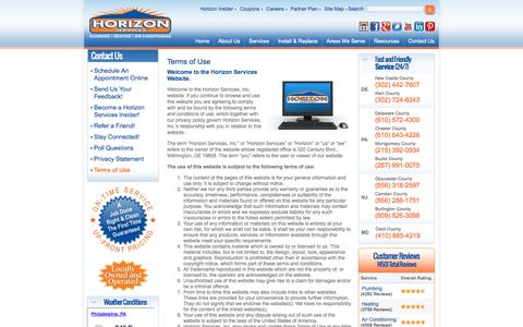 Screenshot of Terms Page horizonservicesinc.com - Terms of Use | Horizon Services Inc. - captured Sept. 18, 2014