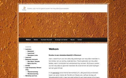 Screenshot of Home Page ecostuc.nl - Ecostuc, duurzaam en ecologisch stucwerk | Ecostuc, voor mooi en gezond wonen met natuurlijke bouwmaterialen. - captured Sept. 29, 2014
