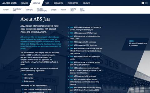Screenshot of About Page absjets.com - About ABS Jets / ABS Jets – Executive Jets Operator - captured Sept. 30, 2014