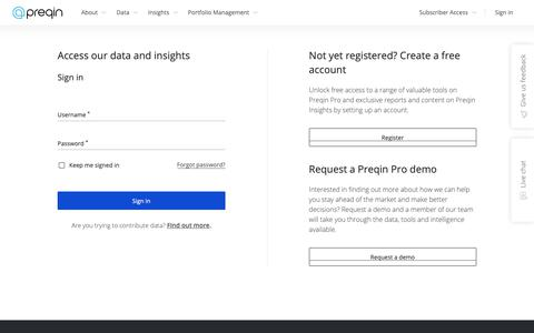 Screenshot of Login Page preqin.com - Preqin - Login - captured Nov. 2, 2018