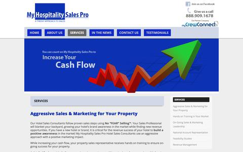 Screenshot of Services Page myhospitalitysalespro.com - Services   - captured Nov. 2, 2017