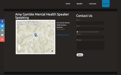 Screenshot of Contact Page amygamble.com - Amy Gamble Mental Health Speaker : Contact - captured Oct. 3, 2017