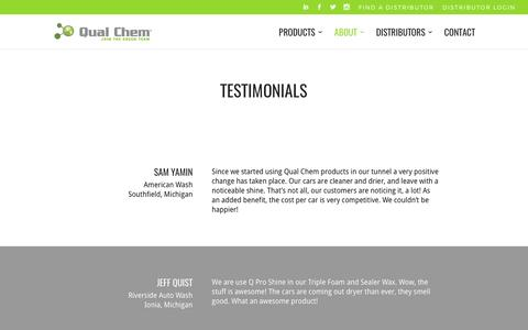 Screenshot of Testimonials Page qualchem.biz - TESTIMONIALS | Qual Chem® | Car Wash Chemistry - captured March 29, 2017