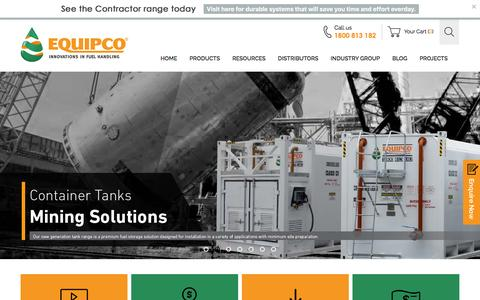 Screenshot of Home Page equipco.com.au - Fuel Equipment | Latest Fuel Handling Equipment in Australia | Equipco - captured July 14, 2016