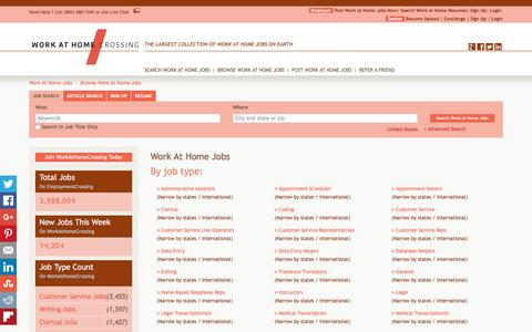 Screenshot of Jobs Page workathomecrossing.com - Work At Home Jobs, Browse Jobs in Work At Home By Job Type, City, State in United States   WorkAtHomeCrossing.com - captured Jan. 12, 2016