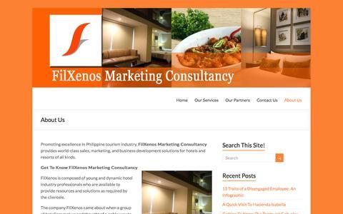 Screenshot of About Page filxenos.com - Get To Know FilXenos Marketing Consultancy - captured Oct. 5, 2014