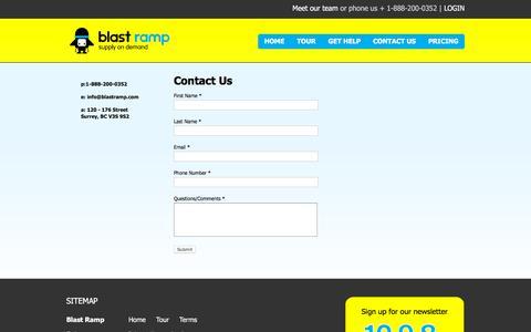 Screenshot of Contact Page blastramp.com - Contact Us - captured Dec. 4, 2015
