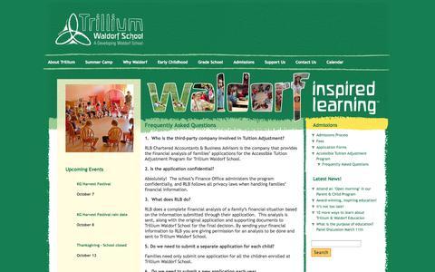 Screenshot of FAQ Page trilliumwaldorfschool.com - Trillium Waldorf School Frequently Asked Questions » Trillium Waldorf School - captured Oct. 8, 2014