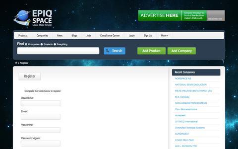 Screenshot of Signup Page epiqspace.com - Register - Epiq Space - captured Sept. 26, 2014