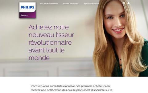 Screenshot of Landing Page philips.com - Achetez notre nouveau lisseur révolutionnaire avant tout le monde - captured Oct. 29, 2016