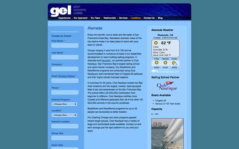 Screenshot of Locations Page gelcorp.com - Alameda Team Building and Leadership Development Sailing Programs - captured Oct. 3, 2014