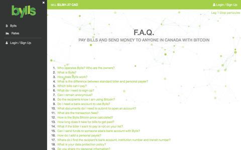 Screenshot of FAQ Page bylls.com - Bylls - captured June 3, 2017