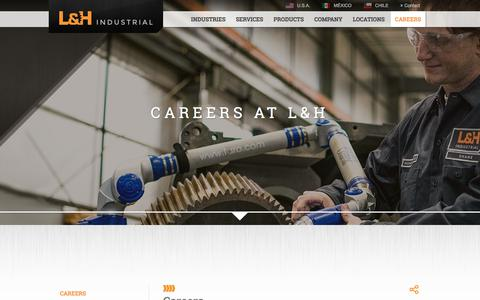 Screenshot of Jobs Page lnh.net - Careers | L&H Industrial - captured Sept. 25, 2018