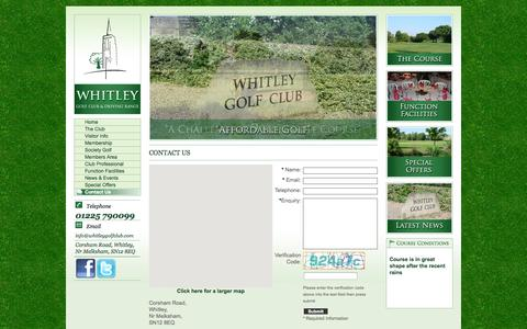 Screenshot of Contact Page whitleygolfclub.com - Contact Us - Whitley Golf Club, Wiltshire - captured Oct. 26, 2014