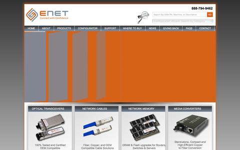 Screenshot of Home Page enetusa.com - Home ENET - Compatible Network Peripherals Provider - captured Jan. 23, 2016