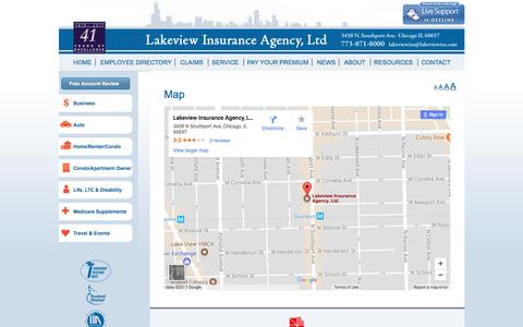 Screenshot of Maps & Directions Page lakeviewins.com - Map - Lakeview Insurance Agency - captured July 13, 2017