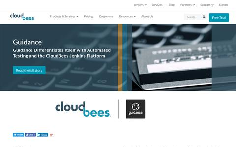 Screenshot of Case Studies Page cloudbees.com - Guidance Differentiates Itself with Automated Testing and the CloudBees Jenkins Platform | CloudBees - captured Aug. 8, 2018