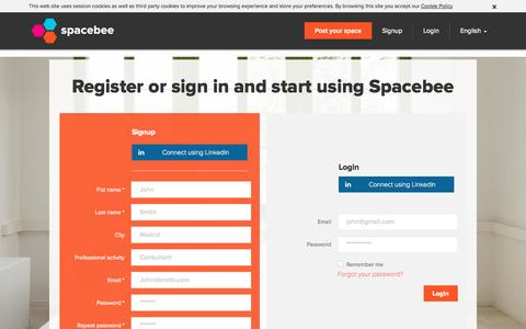 Screenshot of Signup Page spacebee.com - Spacebee | Register or sign in and start using Spacebee - captured Oct. 29, 2014