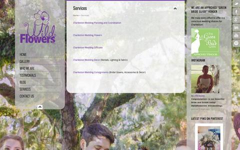 Screenshot of Services Page wildflowersinc.com - Charleston Wedding Planning   WildFlowersinc.com - captured Oct. 1, 2014