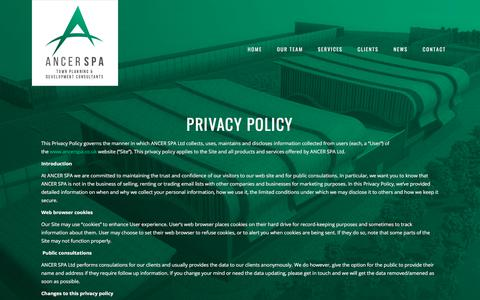 Screenshot of Privacy Page ancerspa.co.uk - Planning Applications - ANCER SPA - captured July 30, 2018