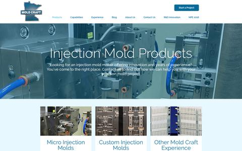 Screenshot of Products Page mold-craft.com - Mold Craft Products | Perfection-Driven Injection Mold Manufacturing - captured Oct. 20, 2017