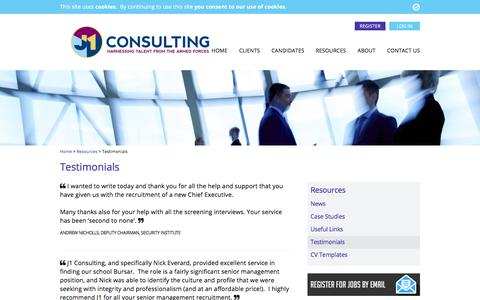 Screenshot of Testimonials Page j1consulting.co.uk - Testimonials - J1 Consulting - captured Sept. 30, 2017