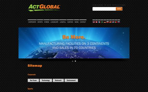 Screenshot of Site Map Page actglobal.com - Welcome to Act Global   World Leading Synthetic Turf Manufacturer - captured Feb. 5, 2016