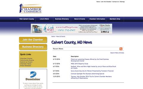 Screenshot of Press Page calvertchamber.org - Calvert County, MD News - Calvert County | Calvert County Chamber of Commerce | Prince Frederick, MD - Calvert County Chamber of Commerce | Prince Frederick, MD - captured June 22, 2016
