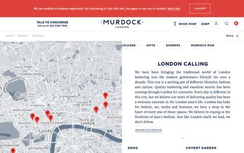 Screenshot of Locations Page murdocklondon.com - Traditional Barber Shops London   Find a Barbershop Near Me   Murdock London - captured Nov. 8, 2018