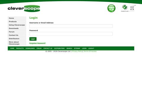 Screenshot of Login Page cleverscope.com - Login | Cleverscope - captured Sept. 28, 2018