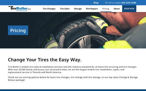 Screenshot of Pricing Page tirebutler.com - Tire Change & Storage Packages | Tire Butler | Toronto - captured Oct. 9, 2017