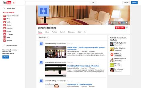 Screenshot of YouTube Page youtube.com - curtains2bedding  - YouTube - captured Oct. 23, 2014