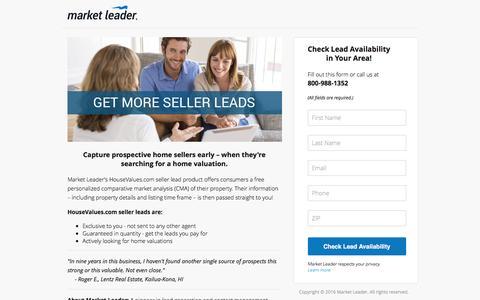 Screenshot of Landing Page marketleader.com - Get more seller leads with HouseValues.com! - captured July 10, 2016