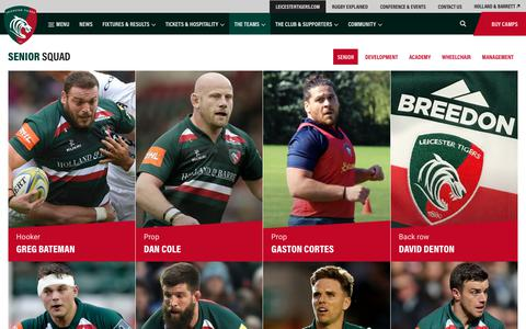 Screenshot of Team Page leicestertigers.com - Senior | Leicester Tigers - captured July 18, 2018