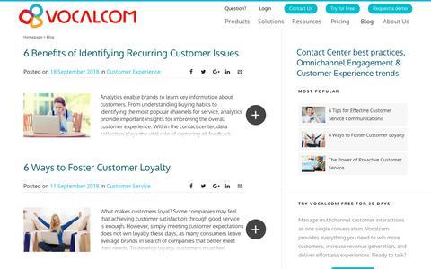 Screenshot of Blog vocalcom.com - Contact Center Blog - Tips, Resources, Guides and Articles - captured Sept. 19, 2018