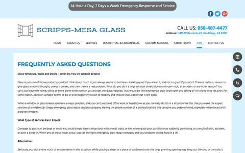 Screenshot of FAQ Page scrippsmesaglass.com - Shower Glass| San Diego, CA|Scripps-Mesa Glass - captured July 27, 2018