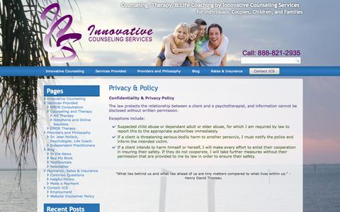 Screenshot of Privacy Page emdrcoach.com - Privacy & Policy - Counseling, Therapy, & Life Coaching by Innovative Counseling ServicesCounseling, Therapy, & Life Coaching by Innovative Counseling Services - captured Oct. 6, 2014
