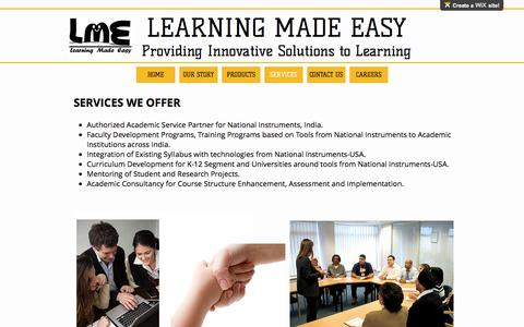 Screenshot of Services Page lme-learningmadeeasy.com - Learning Made Easy | SERVICES - captured May 13, 2017