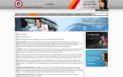 Screenshot of Terms Page london-driving-lessons.net - Driving School Terms and Conditions - captured March 4, 2016