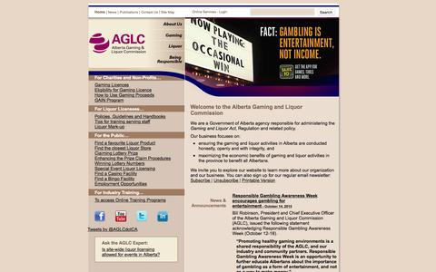 Screenshot of Home Page aglc.ca - AGLC - Alberta Gaming and Liquor Commission - captured Oct. 19, 2015