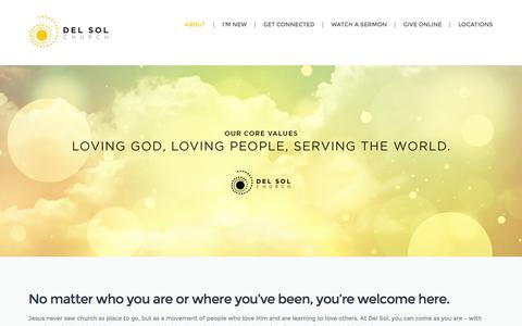 Screenshot of About Page delsolchurch.com - What We're About | Del Sol Church - captured Oct. 29, 2014